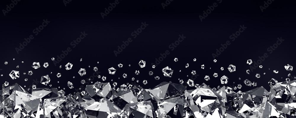 Fototapeta Diamonds on a black background. 3d render