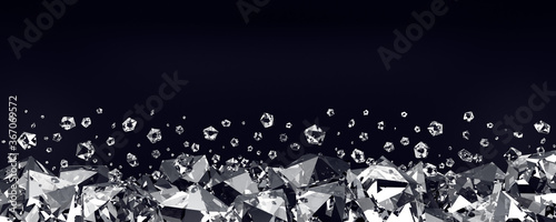 Diamonds on a black background. 3d render Canvas Print