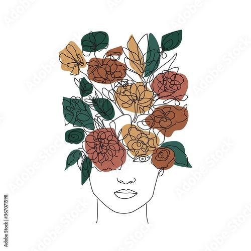 Fototapeta Woman Face with Flowers One Line Drawing. One Line Abstract Portrait. Minimalist Floral Portrait. Contour Wall Art Design. Vector EPS 10. obraz