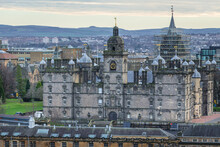 Aerial View With George Heriots School Edinburgh City, Scotland, UK, View From Edinburgh Castle Esplanade