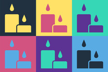 Pop Art Burning Candle Icon Is...