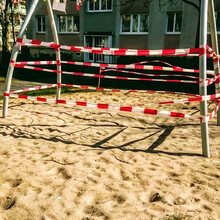Cordoned Off Playground In The Park In Corona Crises