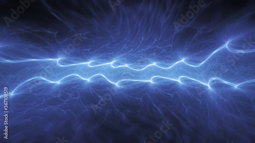 Obraz Blue abstract fractal lightning, plasma background - fototapety do salonu