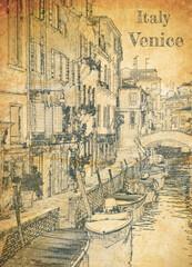 Fototapeta Architektura Few boats on canal in Venice, sketch on old paper