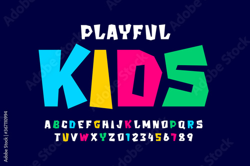 Fotografie, Tablou Kids style colorful font, playful alphabet letters and numbers