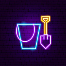 Bucket Shovel Toy Neon Sign