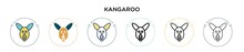Kangaroo Icon In Filled, Thin Line, Outline And Stroke Style. Vector Illustration Of Two Colored And Black Kangaroo Vector Icons Designs Can Be Used For Mobile, Ui, Web