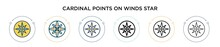 Cardinal Points On Winds Star Icon In Filled, Thin Line, Outline And Stroke Style. Vector Illustration Of Two Colored And Black Cardinal Points On Winds Star Vector Icons Designs Can Be Used For