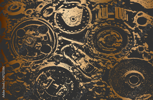 Carta da parati Luxury golden gradient background with distressed metal gear, cogwheel texture