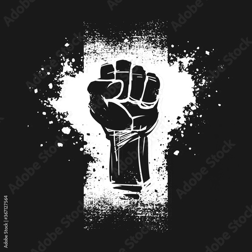 Raised fist illustration, as a symbol for resistance, on black background Canvas Print