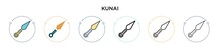 Kunai Icon In Filled, Thin Line, Outline And Stroke Style. Vector Illustration Of Two Colored And Black Kunai Vector Icons Designs Can Be Used For Mobile, Ui, Web