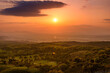 阿蘇・俵山頂上からの風景写真 美しい夕焼け空 パノラマ風景 日本・熊本・阿蘇 Landscape photo from the top of Mt. Aso and Tawara Beautiful sunset sky Panoramic scenery Japan, Kumamoto, Aso