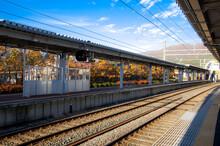 An Empty Platform At A Japan J...