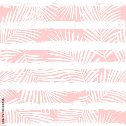 Tropical pattern, palm leaves seamless vector floral background Canvas Print
