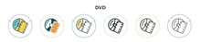 Dvd Icon In Filled, Thin Line, Outline And Stroke Style. Vector Illustration Of Two Colored And Black Dvd Vector Icons Designs Can Be Used For Mobile, Ui, Web