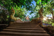 Background Of Wat Pha Tak Suea, Which Is Located On A Mountain And Offers Views Of Neighboring Countries Such As Laos, The Mekong River, Beautiful Pagodas And Churches For Tourists To Make Merit.
