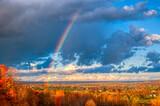 Fototapeta Tęcza - autumn landscape with rainbow