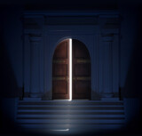 Light coming from a building with vintage door ajar. 3D illustration