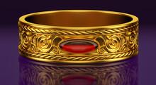 Gold Bracelet With A Red Gem On A Dark Purple Background. 3D Illustration
