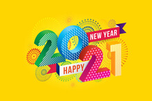 Vector Happy New Year 2021 With Fireworks And Text Design.