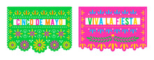 Cinco De Mayo. Viva La Fiesta. Vector Papel Picado Banners With Floral Pattern. Mexican Holiday Decorations Template.