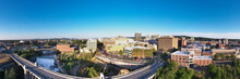 Panorama Drone View Of Downtown Spokane