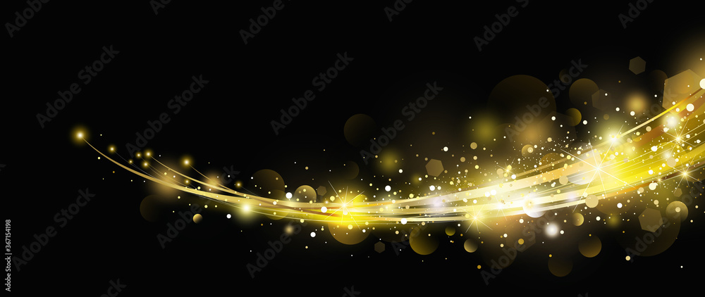 Fototapeta Abstract gold light effect with bokeh design on black background vector illustration
