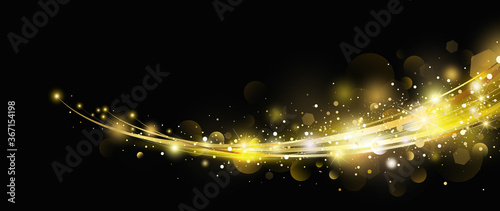 Obraz Abstract gold light effect with bokeh design on black background vector illustration - fototapety do salonu