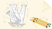 Illustration Layout Banner Of The English Alphabet For Learning The Alphabet Letter V Vulture Sheet Of Paper With Colored Pencils Outline Doodle