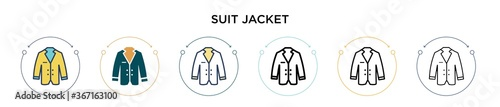 Suit jacket  icon in filled, thin line, outline and stroke style Fototapeta