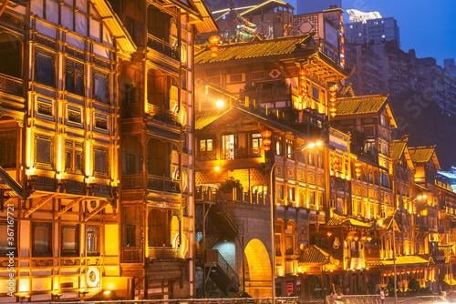 Fototapeta Chongqing, China at Hongyadong  at Twilight obraz