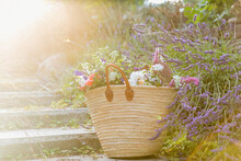 Large Bouquet Of Mixed Wild Flowers In Woven French Style Basket