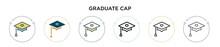 Graduate Cap Icon In Filled, T...