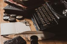 Vintage Typewriter With Old Paper
