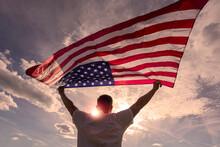Man Holding Waving American US...
