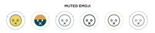 Muted Emoji Icon In Filled, Th...