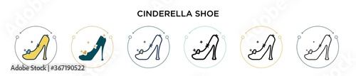Fotografering Cinderella shoe icon in filled, thin line, outline and stroke style