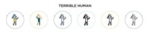 Terrible Human Icon In Filled, Thin Line, Outline And Stroke Style. Vector Illustration Of Two Colored And Black Terrible Human Vector Icons Designs Can Be Used For Mobile, Ui, Web