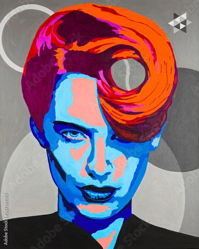 Obraz Conceptual modern art portrait painting of a transgender person - fototapety do salonu