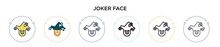 Joker Face Icon In Filled, Thi...