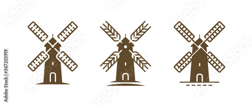 Fotografie, Obraz Windmill logo or symbol. Agriculture, bakery, farm, food concept
