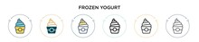 Frozen Yogurt Icon In Filled, Thin Line, Outline And Stroke Style. Vector Illustration Of Two Colored And Black Frozen Yogurt Vector Icons Designs Can Be Used For Mobile, Ui, Web