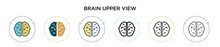 Brain Upper View Icon In Filled, Thin Line, Outline And Stroke Style. Vector Illustration Of Two Colored And Black Brain Upper View Vector Icons Designs Can Be Used For Mobile, Ui, Web
