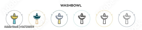 Photo Washbowl icon in filled, thin line, outline and stroke style