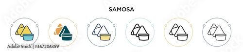 Valokuva Samosa icon in filled, thin line, outline and stroke style