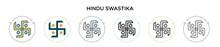Hindu Swastika Icon In Filled,...