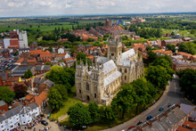 Selby Abbey North Yorkshire England. Drone Photograph Of The Abbey Looking At The South And East Side In Sun With Selby Town Behind.