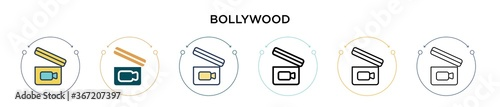 Fotografie, Obraz Bollywood icon in filled, thin line, outline and stroke style