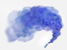 Color Blue Festive Smoke Bomb.Football Fans Torch Firework. Isolated Fog Or Smoke, Transparent Special Effect. Bright Magic Cloud.Vector Element For Your Design.