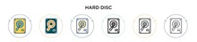 Hard Disc Icon In Filled, Thin Line, Outline And Stroke Style. Vector Illustration Of Two Colored And Black Hard Disc Vector Icons Designs Can Be Used For Mobile, Ui, Web